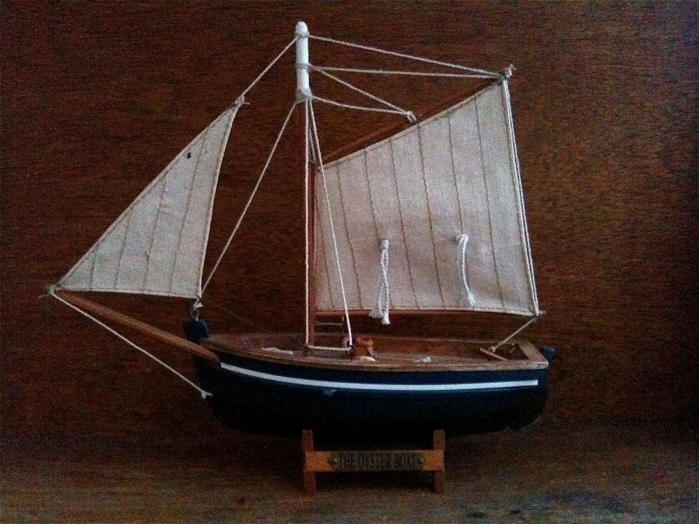Vintage English Blue Oyster Boat, Wood Home Decor Display