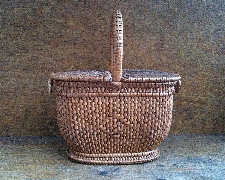 Handmade Small Baskets : Vintage english small wicker basket handmade with side